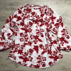 Red Floral Boho Blouse
